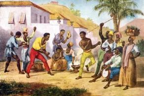 Uma das mais antigas ilustrações da capoeira no Brasil, de Johann Rugendas em 1835.