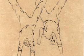 Desenhos de Mestre Pastinha em seu caderno de anotações